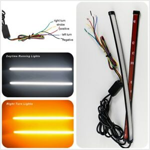 2x-Dual-Color-Switchback-LED-Strip-For-Autos-Headlight-DRL-amp-Turn-Signal-Light