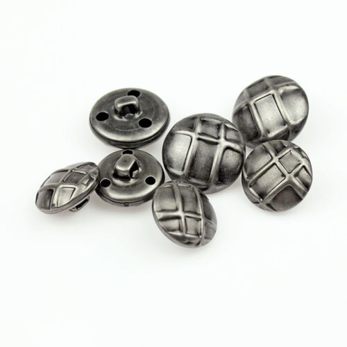 12PCS New Silver Solid Stripe Metal Round Coat Shank Buttons 18 21 mm