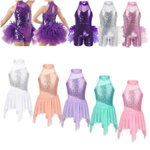 Kids-Girls-Sequins-Ballet-Dance-Dress-Gymnastics-Leotard-Tutu-Skirted-Dancewear