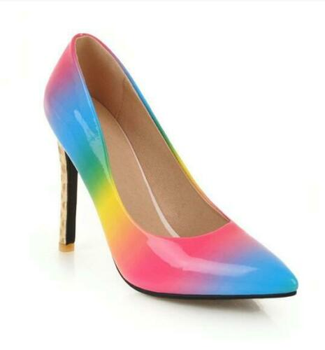 NEW Women/'s High Stlettos Heels Pumps Pointy Toe Colorful Rainbow Party Shoes D