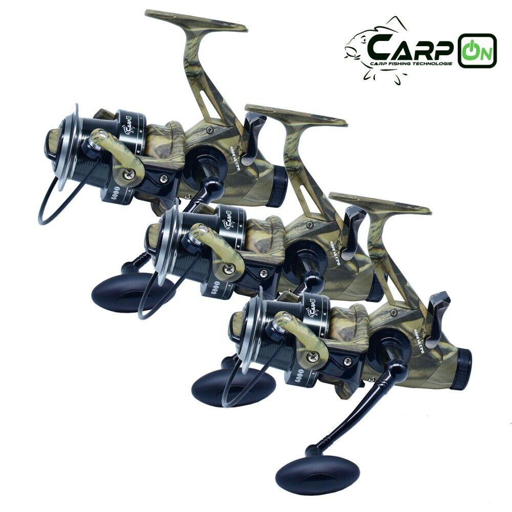 3x Carpon Polea Tensora Sk 6000 Cpo Camou Anguilas Carrete Carpa de Pesca