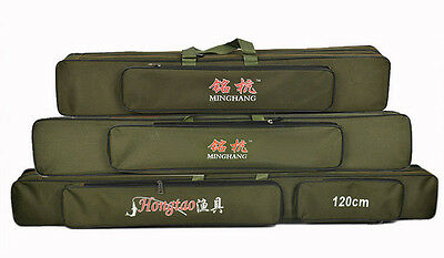 new Fishing Fish Tackle Rod Hold Bag Carry Case 70-90cm Black/Army 2 layers 2015