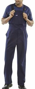 Click-Navy-Blue-Cotton-Drill-Bib-and-Brace-Dungarees-Work-Trousers-Overalls-New