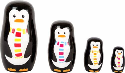 Matrjoschka Pinguin-Familie Figuren aus Holz Stapelspiel Steckspiel Motorik Neu