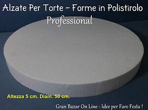 Dettagli su ALZATE PER TORTE POLISTIROLO FORMA TONDA 50 cm h 5cm CAKE  DESIGN 3D DECORAZIONI