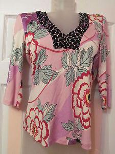fc9768a94c2e35 ELIE TAHARI stretchy silk peonies peony floral print 3/4 sleeve top ...