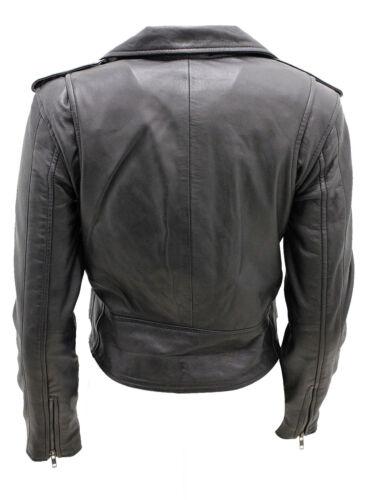 Nappa Giacca pelle da retr nera in motociclista wq8BgZ