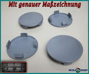4x-Plano-Tapacubos-64-5mm-Buje-de-rueda-tapa-en-color-gris-NUEVO