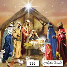 (336) TWO Individual Paper LUNCHEON Decoupage Napkins - CHRISTMAS NATIVITY JESUS