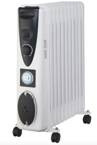 NUOVO Portatile 11 FIN 2500w ELETTRICO riempita di olio Radiatore Di Riscaldamento 24hr TIMER BIANCO