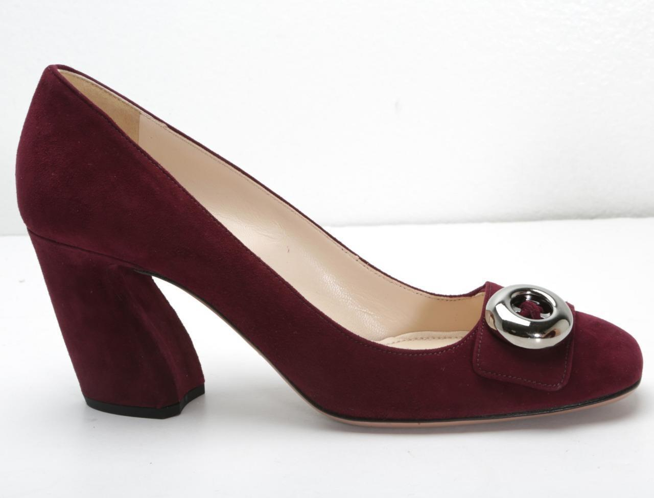 PRADA Womens Wine Burgundy Suede Silver-Button Block High Heel Pumps 8-38 NEW
