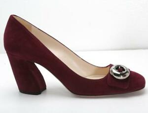 b0573c38cb9 PRADA Womens Wine Burgundy Suede Silver-Button Block High Heel Pumps ...