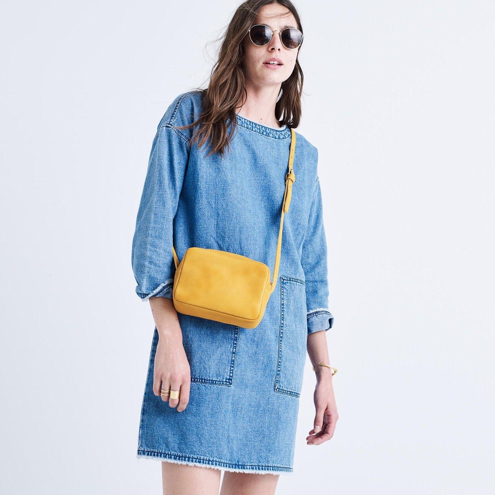 MADEWELL Raw-Edge Denim Shirtdress Dress Sold Out Sz Med NWT
