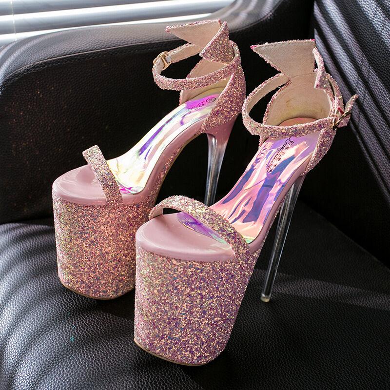 Sexy Damas Zapatos Sandalia De Plataforma Plataforma Plataforma Taco Alto 20cm Stiletto Bombas Hebilla datación Talla  más descuento