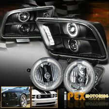 New 2005-2009 Ford Mustang GT Halo Projector LED Headlight + Fog LIght For Grill
