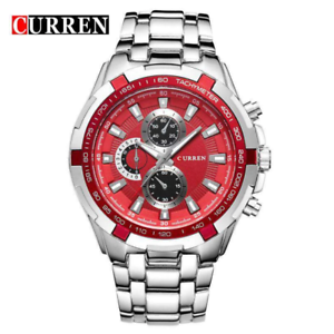 Curren-8023-7-Silver-Red-Stainless-Steel-Watch