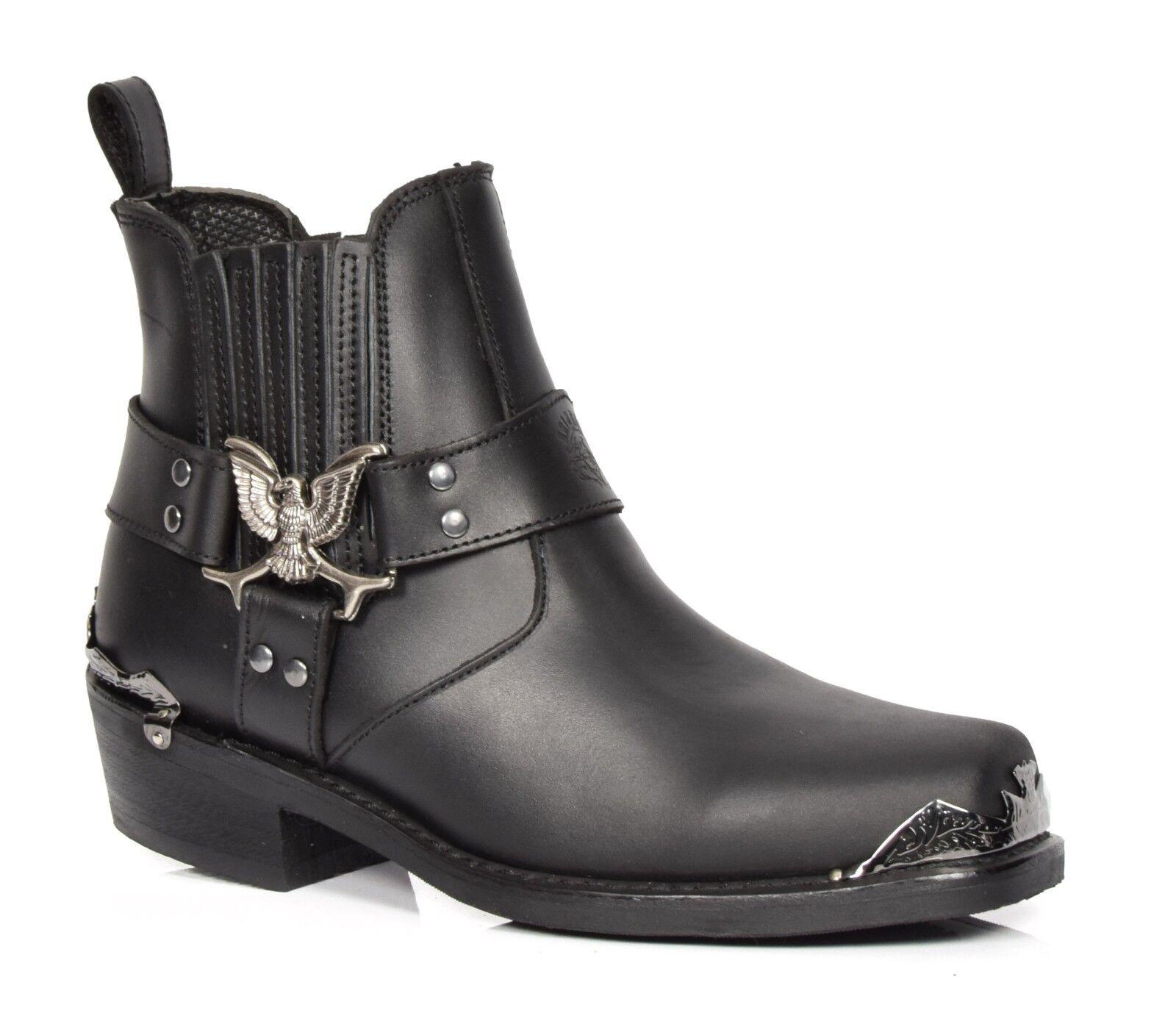 Real De Cuero Negro Estilo Motero Chelsea botas Zapatos De Tobillo Puntera Cuadrada Bloque Talón
