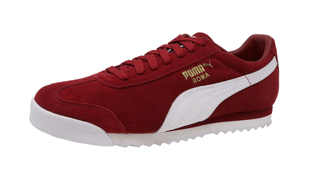 PUMA Lace Roma Suede Leather rouge Dahlia blanc athlétique Lace PUMA Up Sneakers homme chaussures 297162