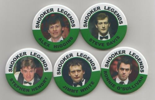 SNOOKER LEGEND BADGES ALL 5 PLAYERS 55MM IN SIZE