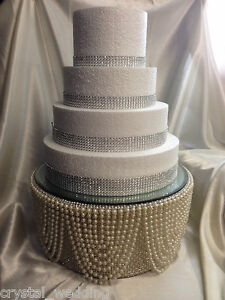 bling wedding cake stand with pearls pearl amp diamante rhinestone finish cake stand for 11935