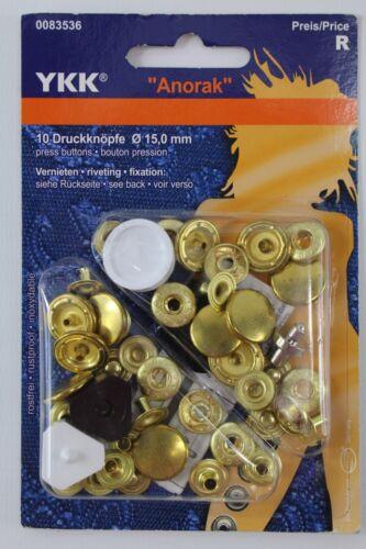 """10 Druckknöpfe /"""" Anorak/"""" gold Ø 15mm von YKK Art. 0083536 Nr"""