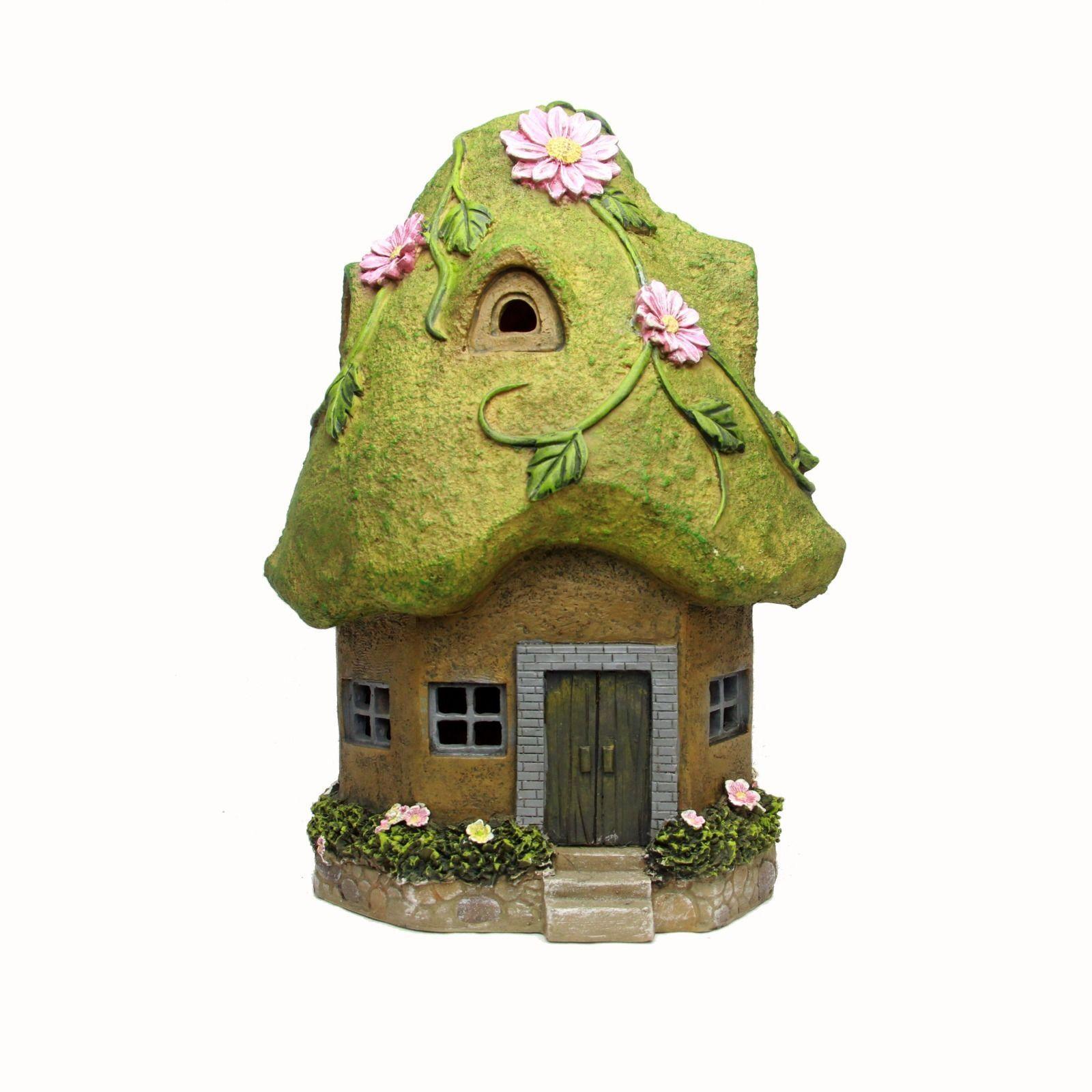 MOSS  SOLAR FAIRY HOUSE TWO STOREY HOUSE FAIRY  BNIB OUTDOOR 37cm/ 14.5 INCH 7899ab