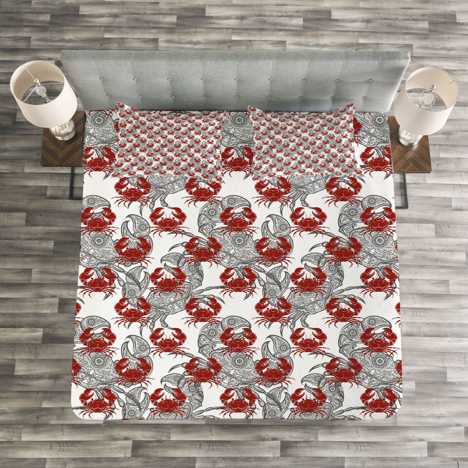 Sea Animal Quilted Bedspread & Pillow Shams Set, Illustration of Crab Print