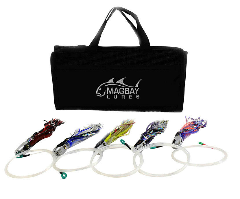 Paquete De 5 cabeza de chorro de atún amañados 9  Señuelos Mahi Wahoo Dorado + Bolsa de señuelos