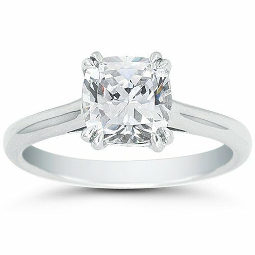 0.65CT Cushion Cut Forever One Moissanite Double Prong White gold Ring