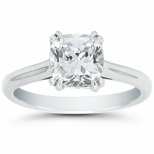 58ee3c1698d8e 2.20CT Cushion Cut Forever One DEF Round Moissanite Double Prong ...
