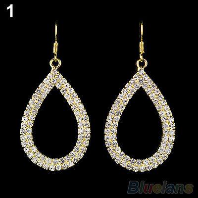 Womens Crystal Teardrop Shaped Dangle Earrings Vogue Ladies Rhinestone Ear Studs