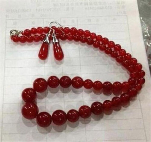 """Boucle d/'oreille AA Excellent 6-14 mm Rouge Ruby Gemstone Collier 17/"""""""