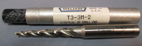 """USA 3//32/""""DIA 3FL HSS Weldon 3° Tapered End Mill: T3-3M-2 3//8/""""SHK 1-1//2/""""LOC"""