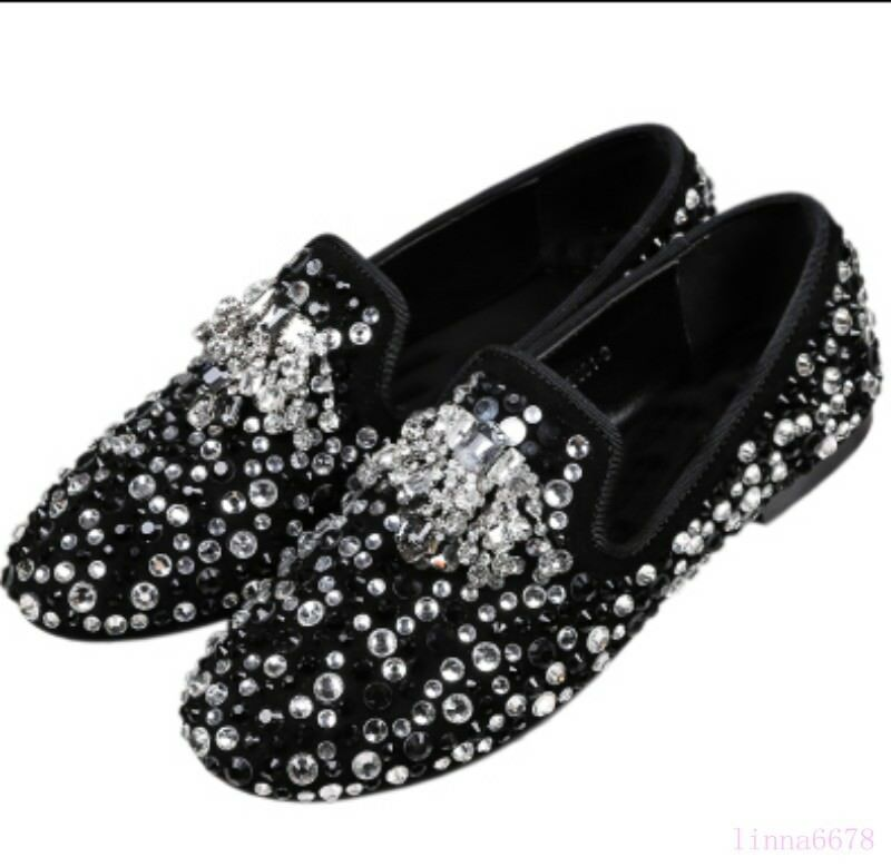 Uomo Rhinestone Slip Round Toe Pelle Casual Shoes Slip Rhinestone On Flats Loafers Pumps 2018 f2576c