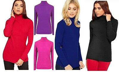 Womens Stretch Polo Neck Top Ladies Plain Sleeveless Turtle Neck Party Jumper UK