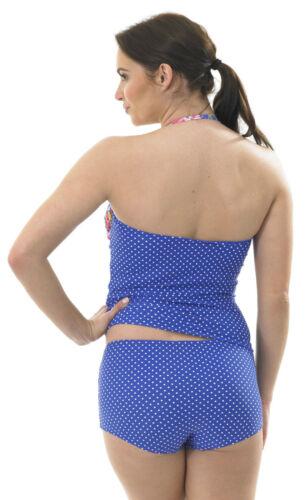 Tankini Bandeau Halterneck Swimming Costume PADDED Pink Blue FLORAL Polka Shorts