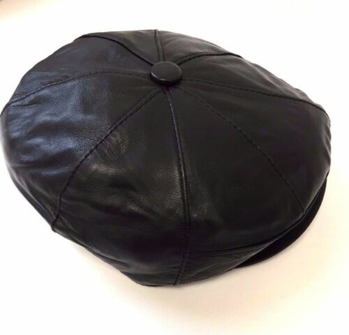 M-XXL Leather Flat Cap Genuine 100/% NEW Buttoned 8 Panel Soft Elasticated Sizes