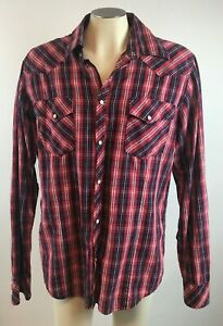True-Religion-XXL-Red-Plaid-Pearl-White-Snap-Button-Western-Shirt-Free-Shipping