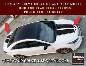 Chevy-Cruze-Hood-and-Rear-Vinyl-Decal-Stripes-2X-Universal-Design-Check-Photos