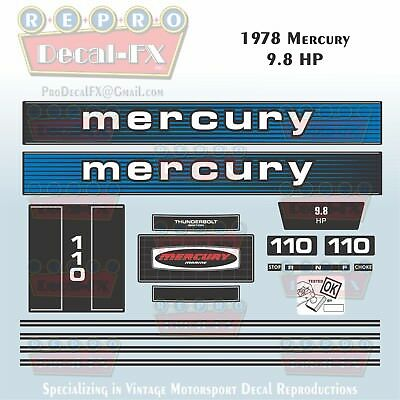 1978 Mercury 9.8HP Outboard Reproduction 17 Piece Marine Vinyl Decal Kit 110