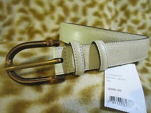 942408919 GUCCI BAMBOO MYSTIC WHITE GRAINY LEATHER MENS BELT 42 / 105 NWT NEW ...