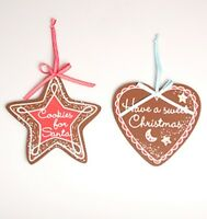 NEW Pair of Wooden Cookie Xmas Chocolate Star & Heart Hanging Decoration NO P&P