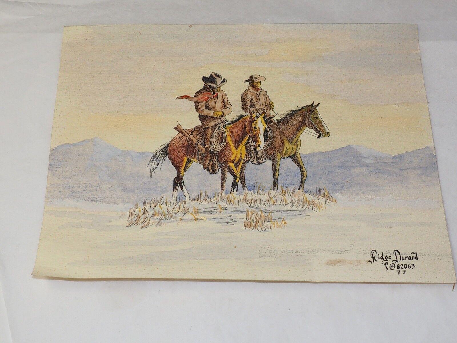 Original Ridge Warl Stylo Durand Aquarelle & Stylo Warl Lakota Indien Peinture 1977 62940e
