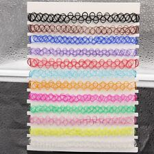 Mix 12 colors 12 Pcs/pack Tattoo rainbow chokers Vintage Stretch Necklace Retro