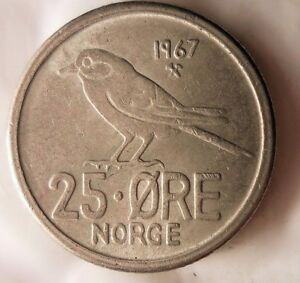 FREE SHIPPING BIRD SERIES Excellent 1969 NORWAY 25 ORE Norway Bin A