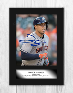 George-Springer-Houston-Astros-A4-signed-mounted-photograph-Choice-of-frame