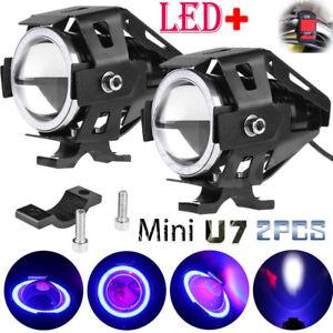 U7-Angel-Eyes-Light-Faros-de-la-motocicleta-LED-Foco-antiniebla-interruptor-Set