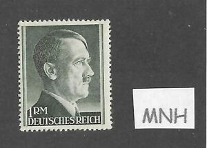 MNH Adolph Hitler Third Reich stamp / 1RM / 1942-1944 / WWII Germany / Sc524