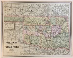 Antique Us Map Oklahoma With Indian Territory Ebay - Us-indian-territory-map