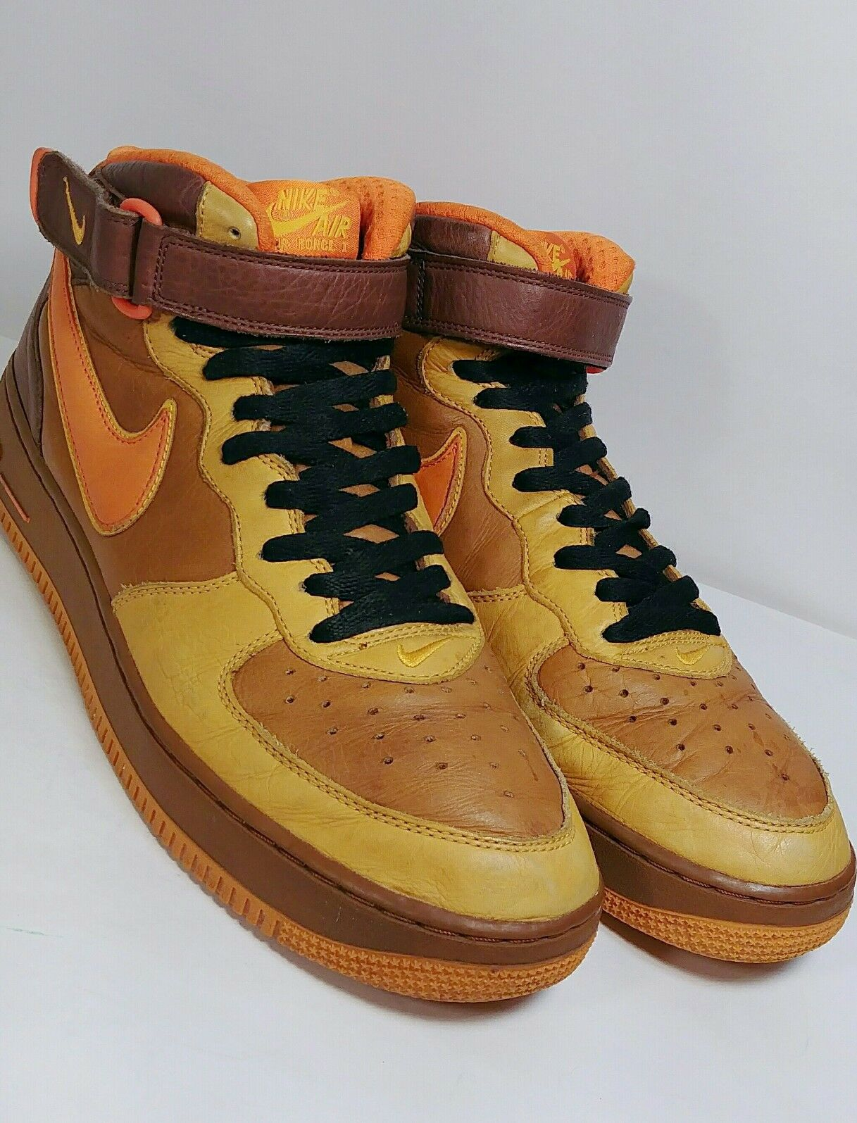 Nike Air Force 1 Orange Mid Premium QK Hazelnut/ Orange 1 Blaze 315581-281 Size 11.5 EUC 838f66